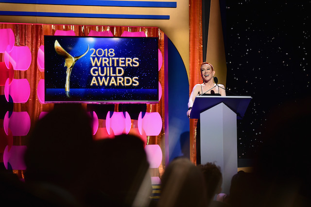 BEVERLY HILLS, CA - FEBRUARY 11: Comedian Kathy Griffin speaks onstage during the 2018 Writers Guild Awards L.A. Ceremony at The Beverly Hilton Hotel on February 11, 2018 in Beverly Hills, California. (Photo by Emma McIntyre/Getty Images)