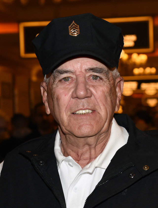 "LAS VEGAS, NV - JANUARY 19: Actor, television personality and former U.S. Marine Corps gunnery sergeant R. Lee Ermey attends the 2016 National Shooting Sports Foundation's Shooting, Hunting, Outdoor Trade (SHOT) Show to promote his Outdoor Channel show ""Gunnytime with R. Lee Ermey"" at the Sands Expo and Convention Center on January 19, 2016 in Las Vegas, Nevada. The SHOT Show, the world's largest annual trade show for shooting, hunting and law enforcement professionals, runs through January 23 and is expected to feature 1,600 exhibitors showing off their latest products and services to more than 62,000 attendees. (Photo by Ethan Miller/Getty Images)"