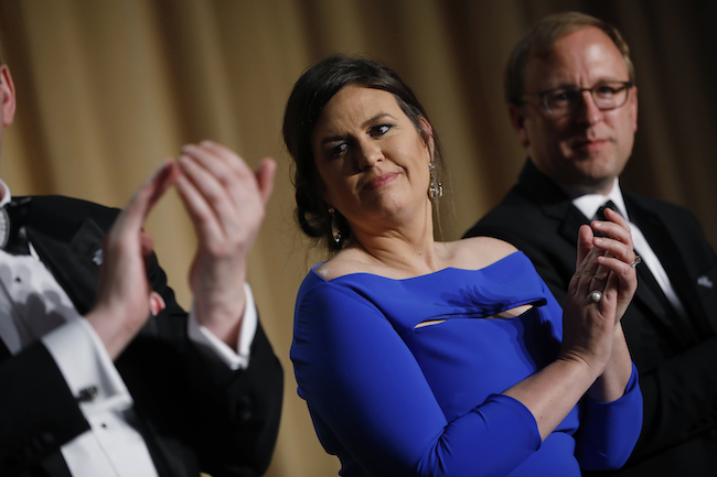White House Press Secretary Sarah Huckabee Sanders is seen at the White House Correspondents' Association dinner in Washington, April 28, 2018. REUTERS/Aaron P. Bernstein
