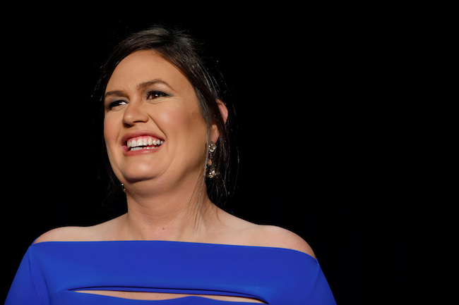 White House Press Secretary Sarah Sanders is seen at the White House Correspondents' Association dinner in Washington, April 28, 2018. REUTERS/Aaron P. Bernstein