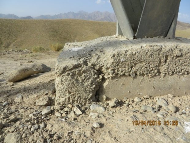 Deteriorating foundation supports one the towers on Afghanistan's currently inoperable new electrical system (SIGAR)