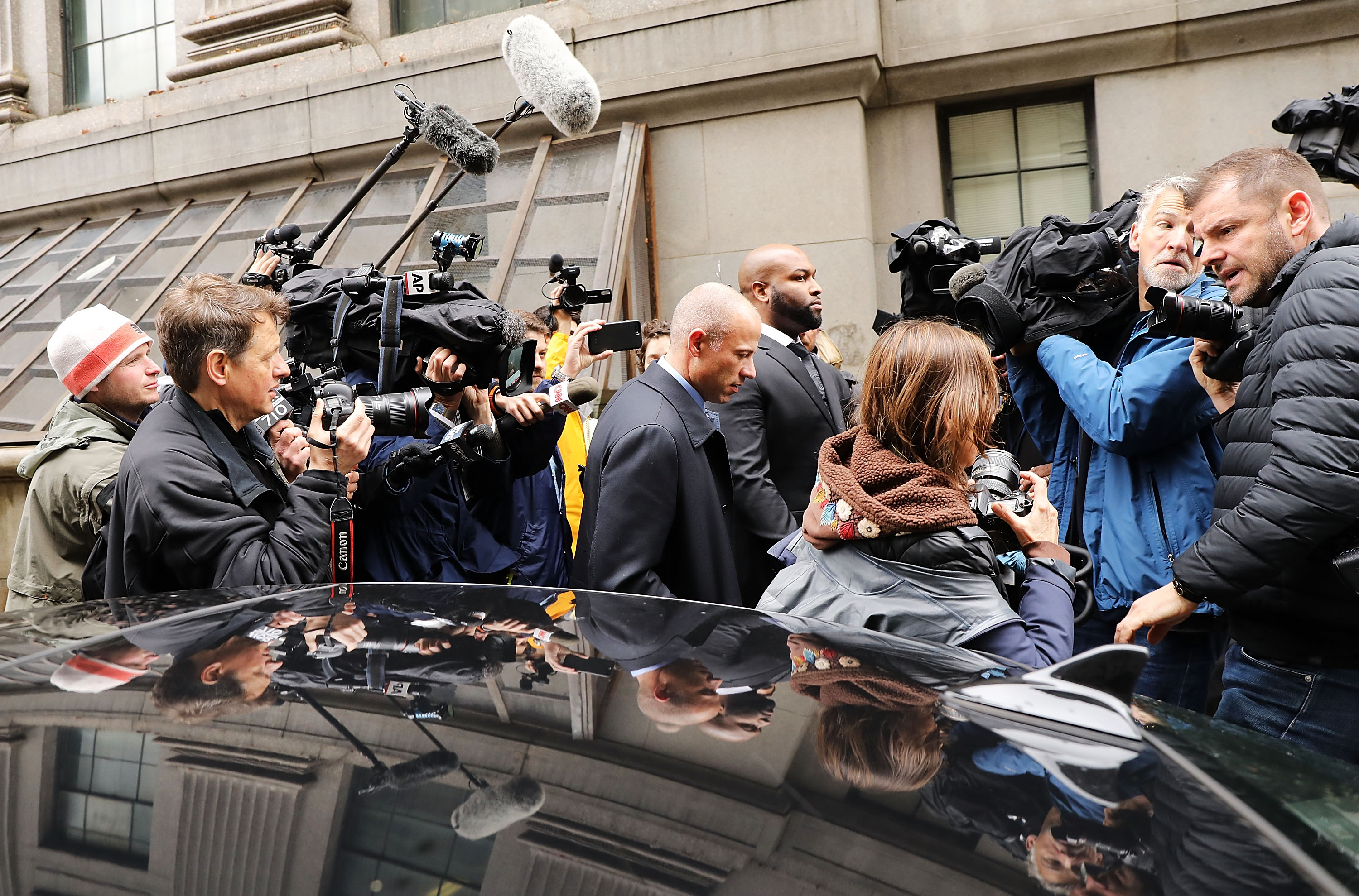 NEW YORK, NY - APRIL 16: Adult-film actress Stormy Daniels' lawyer Michael Avenatti arrives at a court hearing where President Donald Trump's long-time personal attorney Michael Cohen is attending a court hearing on April 16, 2018 in New York City. Trump's lawyers on Sunday night asked a federal judge to temporarily block prosecutors from reviewing files seized by the FBI from Cohen's offices and hotel room last week. Trump's lawyers have argued that many of the documents are protected by attorney-client privilege. (Photo by Spencer Platt/Getty Images)