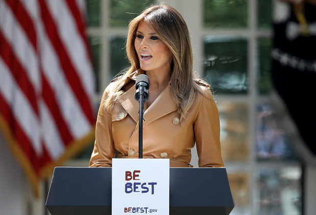 WASHINGTON, DC - MAY 07: U.S. first lady Melania Trump speaks in the Rose Garden of the White House May 7, 2018 in Washington, DC. Trump outlined her new initiatives as first lady during the event. (Photo by Win McNamee/Getty Images)