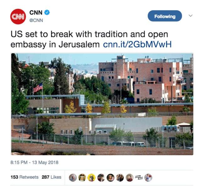 CNN's story covering the U.S. moving its embassy to Jerusalem (Photo: Screenshot/Twitter)