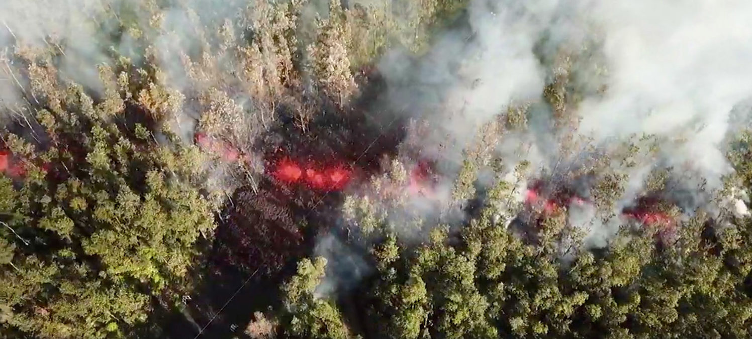 Lava emerges from the ground after Kilauea Volcano erupted, on Hawaii's Big Island May 3, 2018, in this still image taken from video obtained from social media. MANDATORY CREDIT. Jeremiah Osuna/via REUTERS