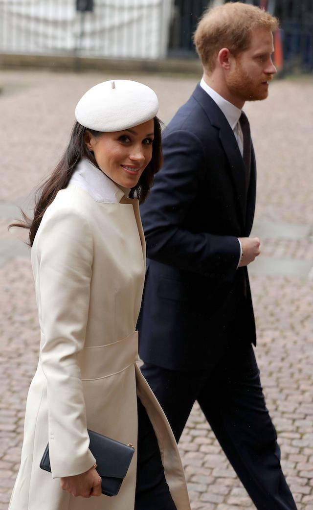 Britain's Prince Harry (R) and his fiancee US actress Meghan Markle attend a Commonwealth Day Service at Westminster Abbey in central London, on March 12, 2018. Britain's Queen Elizabeth II has been the Head of the Commonwealth throughout her reign. Organised by the Royal Commonwealth Society, the Service is the largest annual inter-faith gathering in the United Kingdom. / AFP PHOTO / Daniel LEAL-OLIVAS (Photo credit should read DANIEL LEAL-OLIVAS/AFP/Getty Images)