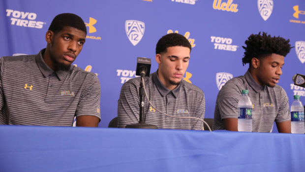 UCLA basketball players Cody Riley, LiAngelo Ball, and Jalen Hill speak at a press conference at UCLA after flying back from China where they were detained on suspicion of shoplifting, in Los Angeles, California U.S. November 15, 2017. REUTERS/Lucy Nicholson