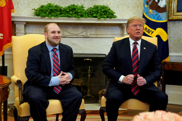 U.S. President Donald Trump talks to the media as he greet Josh Holt, an American missionary who was released by Venezuela, in the Oval Office of the White House in Washington, U.S., May 26, 2018. REUTERS/Yuri Gripas