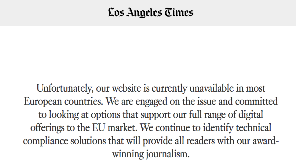 Screenshot of The Los Angeles Times from a European IP address.
