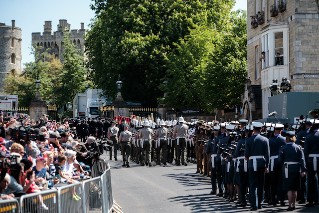 WINDSOR, ENGLAND - MAY 17: Military personnel take part in a dress rehearsal of the wedding of Prince Harry and Meghan Markle outside Windsor Castle on May 17, 2018 in Windsor, England. (Photo by Jack Taylor/Getty Images)