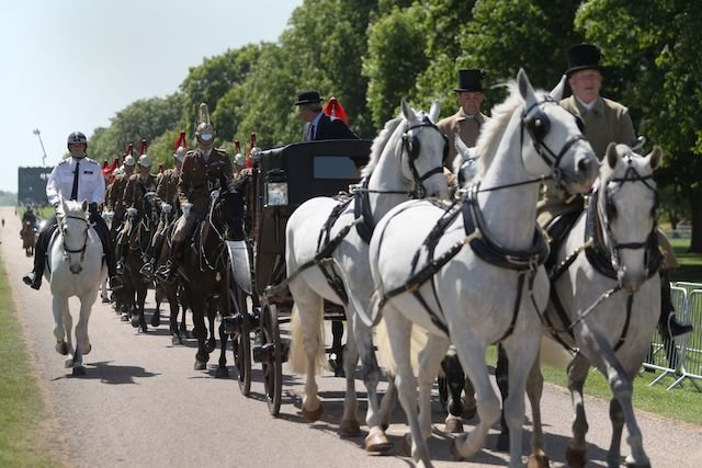 The Ascot Landau carriage pulled by Windsor Grey horses, makes its way along the Long Walk during a rehearsal for the wedding procession outside Windsor Castle in Windsor on May 17, 2018 - Britain's Prince Harry and US actress Meghan Markle will marry on May 19 at St George's Chapel in Windsor Castle. (Photo by DANIEL LEAL-OLIVAS / AFP) (Photo credit should read DANIEL LEAL-OLIVAS/AFP/Getty Images)