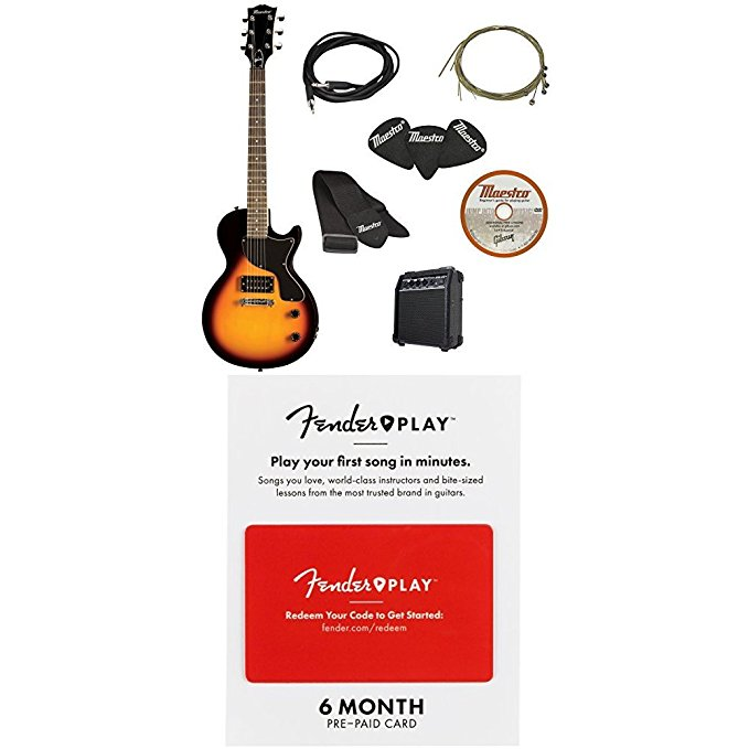 Normally $195, this guitar starter package is 41 percent off when purchased as a bundle today (Photo via Amazon)