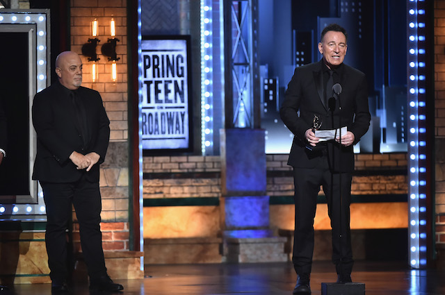 NEW YORK, NY - JUNE 10: Bruce Springsteen (R) accepts a Special Tony Award from Billy Joel (L) onstage during the 72nd Annual Tony Awards at Radio City Music Hall on June 10, 2018 in New York City. (Photo by Theo Wargo/Getty Images for Tony Awards Productions)
