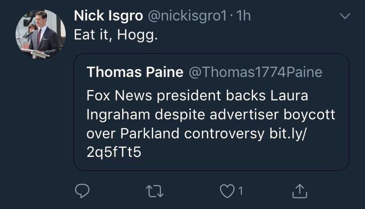 Nick Isgro David Hogg Tweet