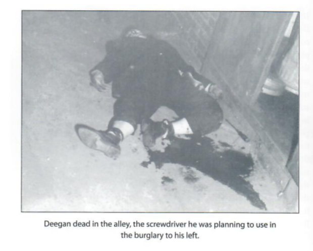 Teddy Deegan's murder scene (courtesy of Howie Carr)