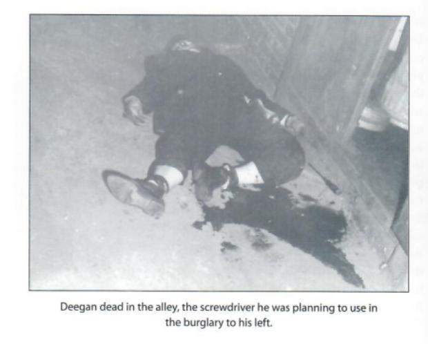 Teddy Deegan's murder scene (courtesy of Howie Carr)