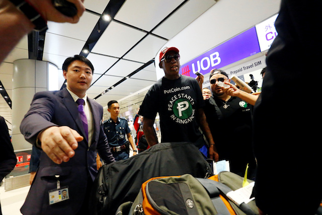 Former basketball player Dennis Rodman arrives at Changi Airport in Singapore, June 12, 2018. REUTERS/Feline Lim - RC1EFE1F5100