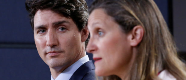 Canada's Prime Minister Justin Trudeau listens to Foreign Minister Chrystia Freeland during news conference in Ottawa, Ontario, Canada, May 31, 2018. REUTERS/Chris Wattie