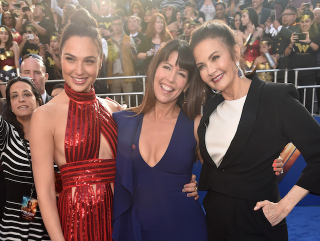"""Actor Gal Gadot, director Patty Jenkins and actor Lynda Carter attend the premiere of Warner Bros. Pictures' """"Wonder Woman"""" at the Pantages Theatre on May 25, 2017 in Hollywood, California. (Photo by Alberto E. Rodriguez/Getty Images)"""