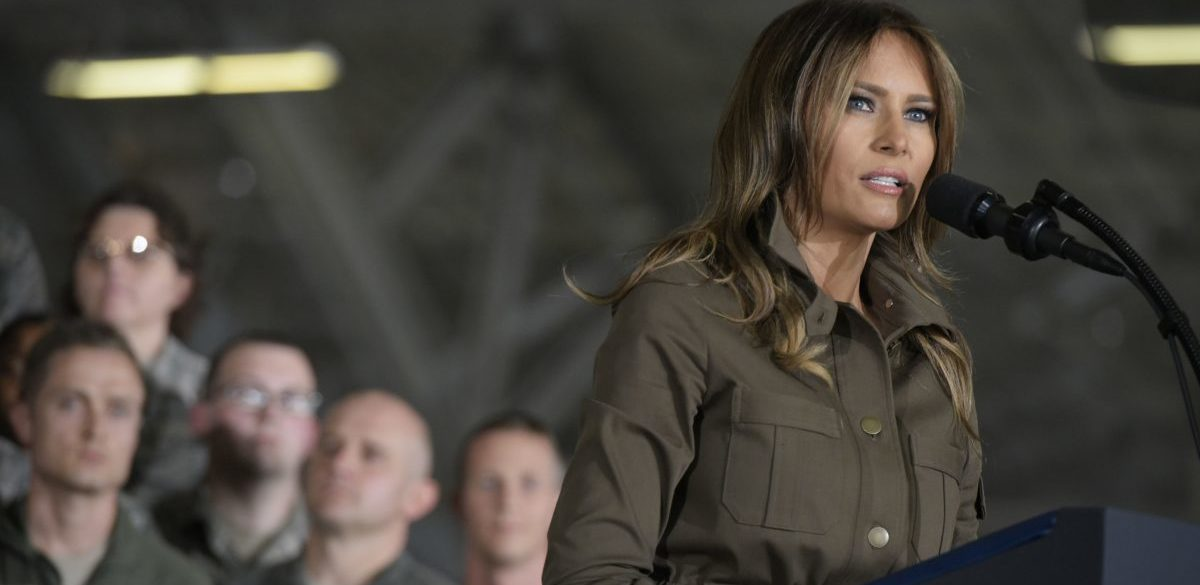 US First Lady Melania Trump introduces US President Donald Trump before an address to military personnel and families at Andrews Air Force Base in Maryland on September 15, 2017. / AFP PHOTO / MANDEL NGAN (Photo credit should read MANDEL NGAN/AFP/Getty Images)