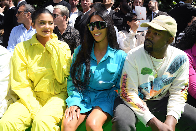 PARIS, FRANCE - JUNE 21: (L-R) Kylie Jenner, Kim Kardashian and Kanye West attend the Louis Vuitton Menswear Spring/Summer 2019 show as part of Paris Fashion Week on June 21, 2018 in Paris, France. (Photo by Pascal Le Segretain/Getty Images)