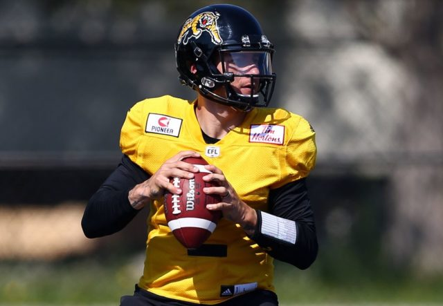HAMILTON, ON - MAY 28: Johnny Manziel #2 of the Hamilton Tiger-Cats takes part in a preseason practice session at Ron Joyce Stadium on May 28, 2018 in Hamilton, Canada. (Photo by Vaughn Ridley/Getty Images)