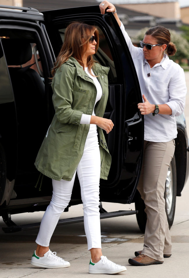 First lady Melania Trump arrives at Joint Base Andrews, Maryland, prior to departing for Texas near the U.S.-Mexico border June 21, 2018. REUTERS/Kevin Lamarque