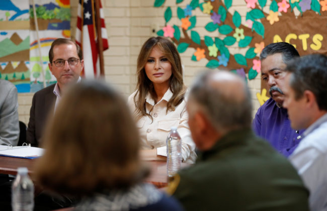 """First lady Melania Trump and U.S. Secretary of Health and Human Services Alex Azar (L) listen during a roundtable meeting at the Lutheran Social Services of the South """"Upbring New Hope Children's Center"""" near the U.S.-Mexico border in McAllen Texas, June 21, 2018. REUTERS/Kevin Lamarque"""