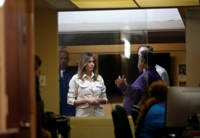 """First lady Melania Trump visits the Lutheran Social Services of the South """"Upbring New Hope Children's Center"""" as she visits the U.S.-Mexico border area in McAllen Texas, June 21, 2018. REUTERS/Kevin Lamarque"""