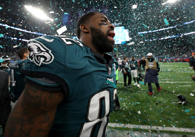 MINNEAPOLIS, MN - FEBRUARY 04: Torrey Smith #82 of the Philadelphia Eagles celebrates after defeating the New England Patriots 41-33 in Super Bowl LII at U.S. Bank Stadium on February 4, 2018 in Minneapolis, Minnesota. (Photo by Patrick Smith/Getty Images)