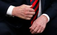 The imprint of French President Emmanuel Macron's thumb can be seen across the back of U.S. President Donald Trump's hand after they shook hands during a bilateral meeting at the G7 Summit in in Charlevoix, Quebec, Canada, June 8, 2018. REUTERS/Leah Millis - HP1EE681RVP6G