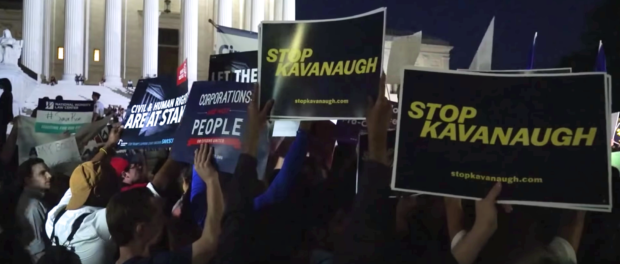 Anti-Kavanaugh protestors outside the US Supreme Court. (YouTube screenshot/Washington Post)