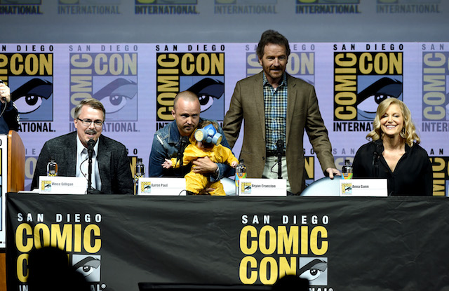 "Vince Gilligan, Aaron Paul, Bryan Cranston, and Anna Gunn speak onstage during the ""Breaking Bad"" 10th Anniversary Celebration during Comic-Con International 2018 at San Diego Convention Center on July 19, 2018 in San Diego, California. (Photo by Kevin Winter/Getty Images)"