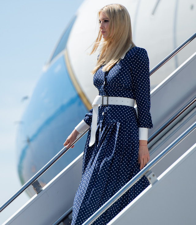 White House Senior Adviser Ivanka Trump arrives at Dubuque Regional Airport in Dubuque, Iowa, July 26, 2018. (Photo credit SAUL LOEB/AFP/Getty Images)