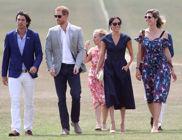 Sentebale Ambassador Nacho Figuares, Prince Harry, Duke of Sussex, Sentebale CEO Cathy Ferrier, Meghan Duchess of Sussex and Delfina Figueras arrive for the Sentebale Polo 2018 held at the Royal County of Berkshire Polo Club on July 26, 2018 in Windsor, England. (Photo by Chris Jackson/Getty Images)