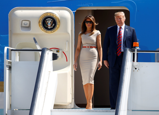 U.S. President Donald Trump and First Lady Melania Trump arrive aboard Air Force One, for their first official visit to Britain, at Stansted Airport, Britain, July 12, 2018. REUTERS/Henry Nicholls