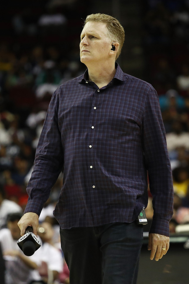 Actor, Michael Rapaport, looks on from courtside during week one of the BIG3 three on three basketball league at Toyota Center on June 22, 2018 in Houston, Texas. (Photo by Ronald Martinez/BIG3/Getty Images)