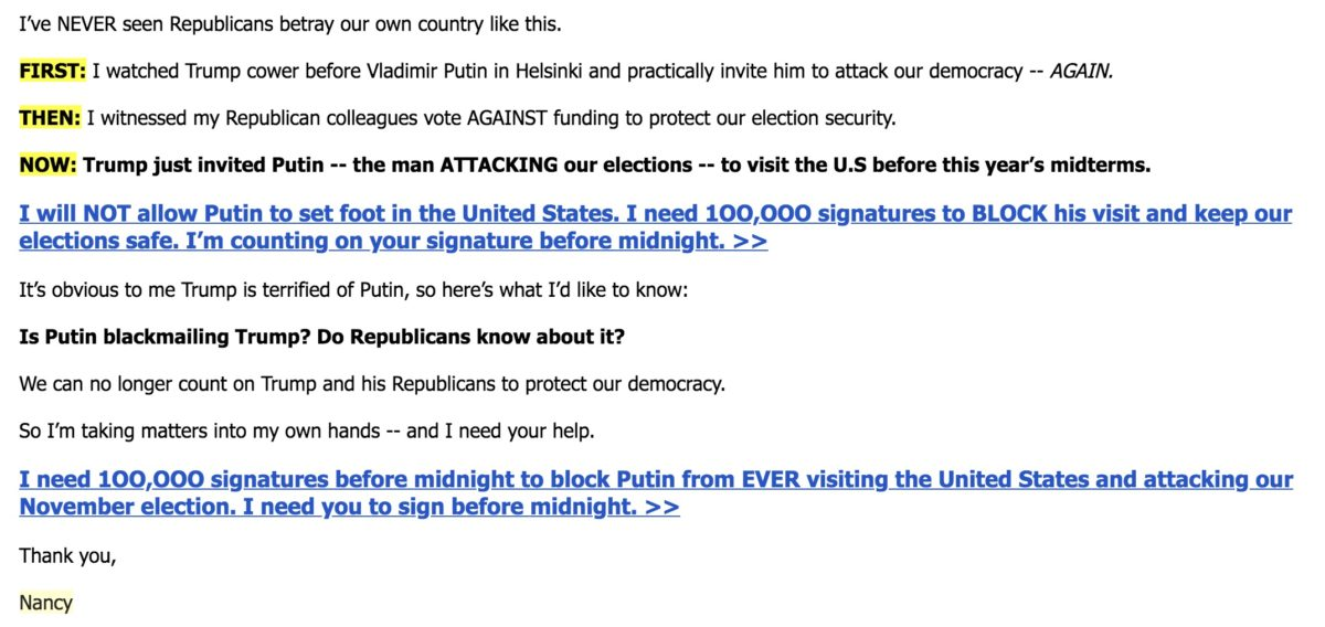 Nancy Pelosi misleads supporters in a DCCC fundraising email
