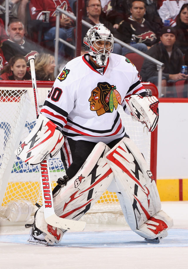 GLENDALE, AZ - FEBRUARY 07: Goaltender Ray Emery #30 of the Chicago Blackhawks during the NHL game against the Phoenix Coyotes at Jobing.com Arena on February 7, 2013 in Glendale, Arizona. The Blackhawks defeated the Coyotes 6-2. (Photo by Christian Petersen/Getty Images)