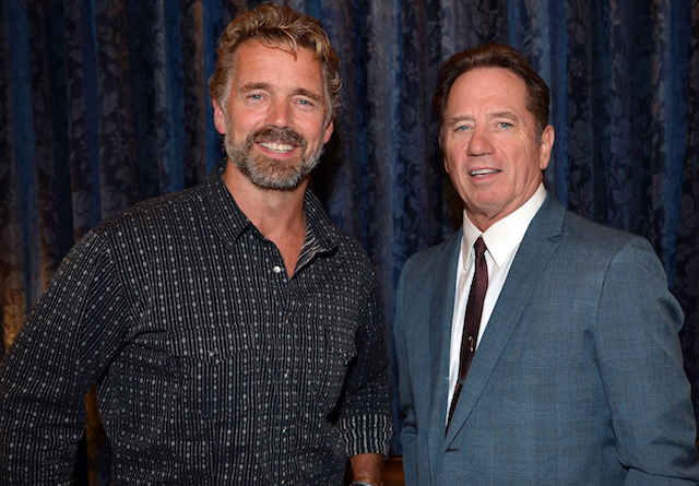 John Schneider and Tom Wopat pose backstage during the Agency Group Party at at IEBA Conference Day 3 at the War Memorial Auditorium on October 9, 2012 in Nashville, Tennessee. (Photo by Rick Diamond/Getty Images for IEBA)