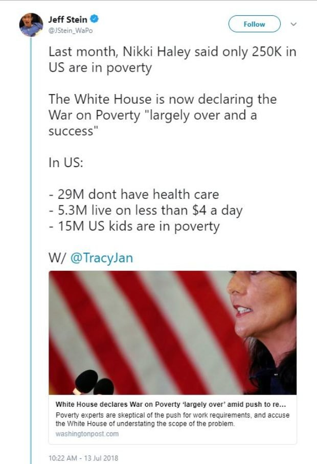 In a now-deleted tweet, Washington Post reporter Jeff Stein misattributed a statistic to U.S. Ambassador to the U.N. Nikki Haley. Twitter screenshot on July 14, 2018
