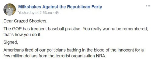 """Facebook screenshot of the now-deleted page, """"Milkshakes Against the Republican Party."""" Image: Facebook screenshot."""