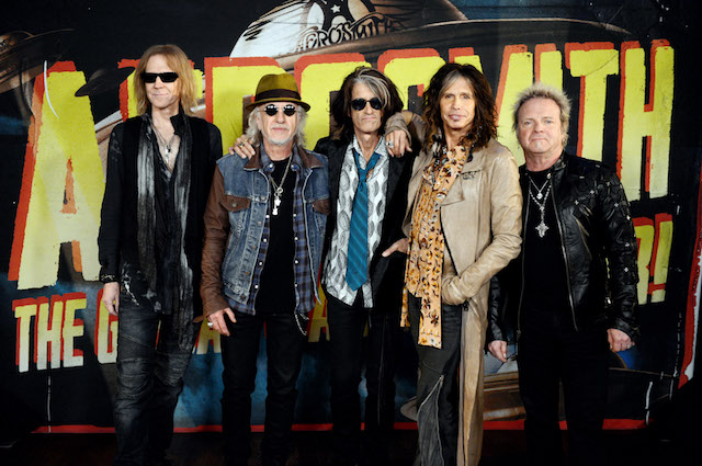 """Members of Aerosmith pose at the press junket to announce their new album """"Music From Another Dimension"""" and upcoming dates for their """"Global Warming"""" tour at the House of Blues on September 18, 2012 in West Hollywood, California. (Photo: Getty Images)"""