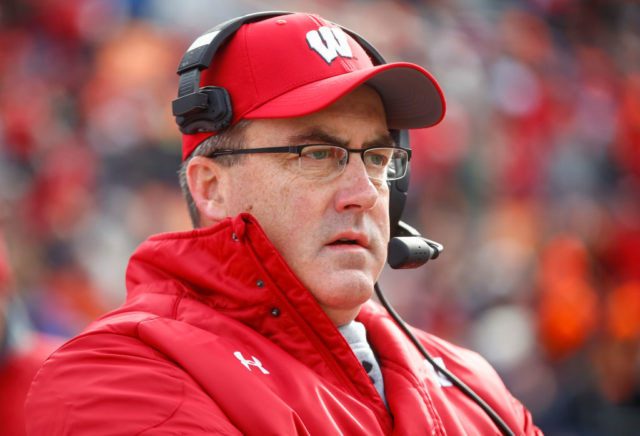 CHAMPAIGN, IL - OCTOBER 28: Head coach Paul Chryst of the Wisconsin Badgers is seen during the game against the Illinois Fighting Illini at Memorial Stadium on October 28, 2017 in Champaign, Illinois. (Photo by Michael Hickey/Getty Images)