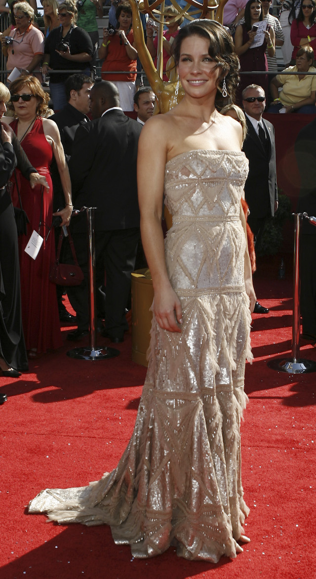 """Actress Evangeline Lilly, star of the series """"Lost"""", arrives at the 60th annual Primetime Emmy Awards in Los Angeles September 21, 2008. REUTERS/ Mario Anzuoni"""