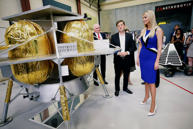 Ivanka Trump tours the Astrobotic Technology facility with Astrobiotic CEO John Thornton in Pittsburgh, Pennsylvania, U.S., August 14, 2018. REUTERS/Jason Cohn