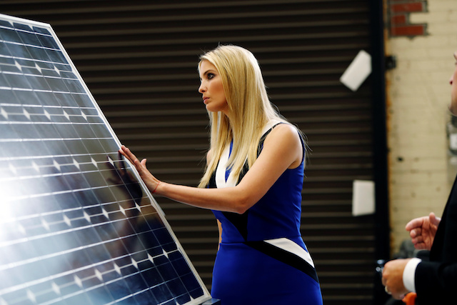 Ivanka Trump examines a solar panel during a tour of the Astrobotic Technology facility in Pittsburgh, Pennsylvania, U.S., August 14, 2018. REUTERS/Jason Cohn