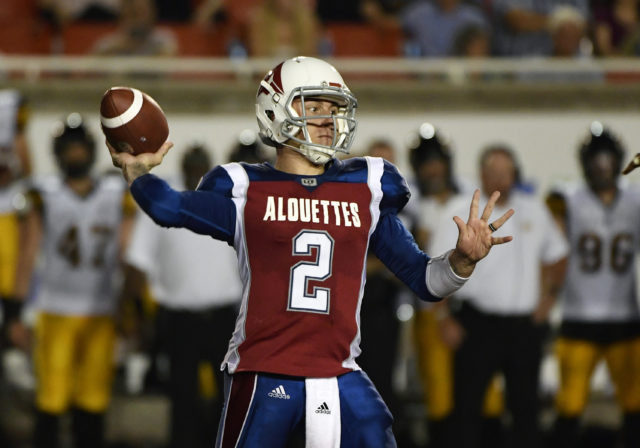 Aug 3, 2018; Montreal, Quebec, CAN; Montreal Alouettes quarterback Johnny Manziel (2) throws a pass against the Hamilton Tiger-Cats during the third quarter at Percival Molson Memorial Stadium. Mandatory Credit: Eric Bolte-USA TODAY Sports - 11020921 - Reuters
