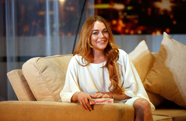 "Lindsay Lohan attends a photocall for ""Speed The Plow"" at Playhouse Theatre on September 30, 2014 in London, England. (Photo by Tim P. Whitby/Getty Images)"