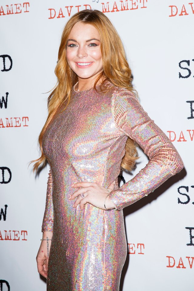 """Lindsay Lohan attends the press night after party of """"Speed The Plow"""" at Playhouse Theatre on October 2, 2014 in London, England. (Photo by Tristan Fewings/Getty Images)"""